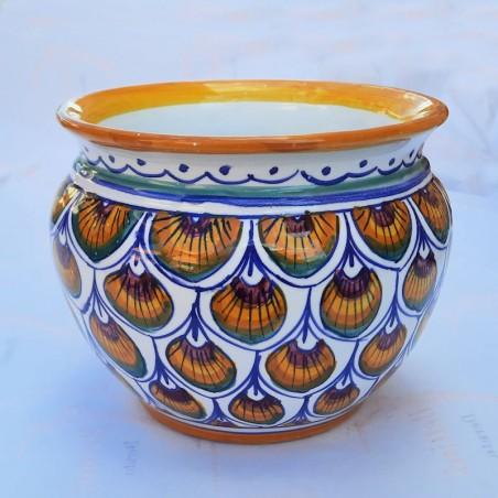 Porta vaso cachepot ceramica maiolica Deruta dipinto a mano decoro penne pavone verdi