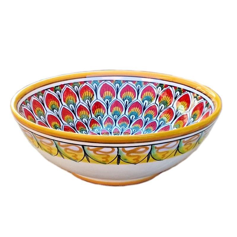 Bolo Insalatiera ceramica maiolica Deruta dipinto a mano decoro penne pavone rosso