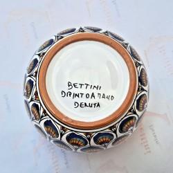 Porta vaso cachepot ceramica maiolica Deruta dipinto a mano decoro penne pavone blu
