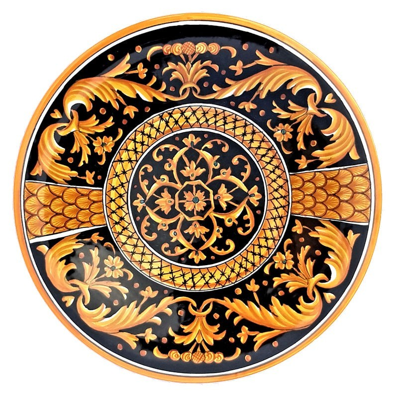 Piatto ceramica maiolica Deruta dipinto a mano da parete o centrotavola decoro Vario Grottesche Roma