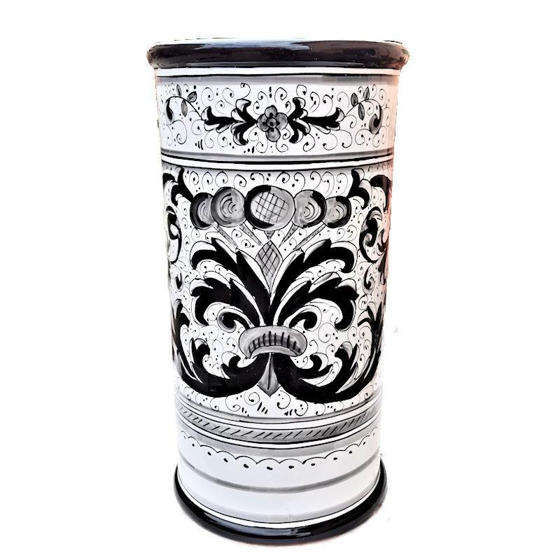 Portaombrelli ceramica maiolica Deruta dipinto a mano decoro Ricco Deruta nero cilindrico