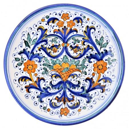 Piatto ceramica maiolica Deruta dipinto a mano da parete decoro Ricco Deruta blu Cesto