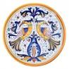 Piatto ceramica maiolica Deruta dipinto a mano da parete decoro Raffaellesco Pappagallo