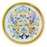 Piatto ceramica maiolica Deruta dipinto a mano da parete decoro Raffaellesco delfino