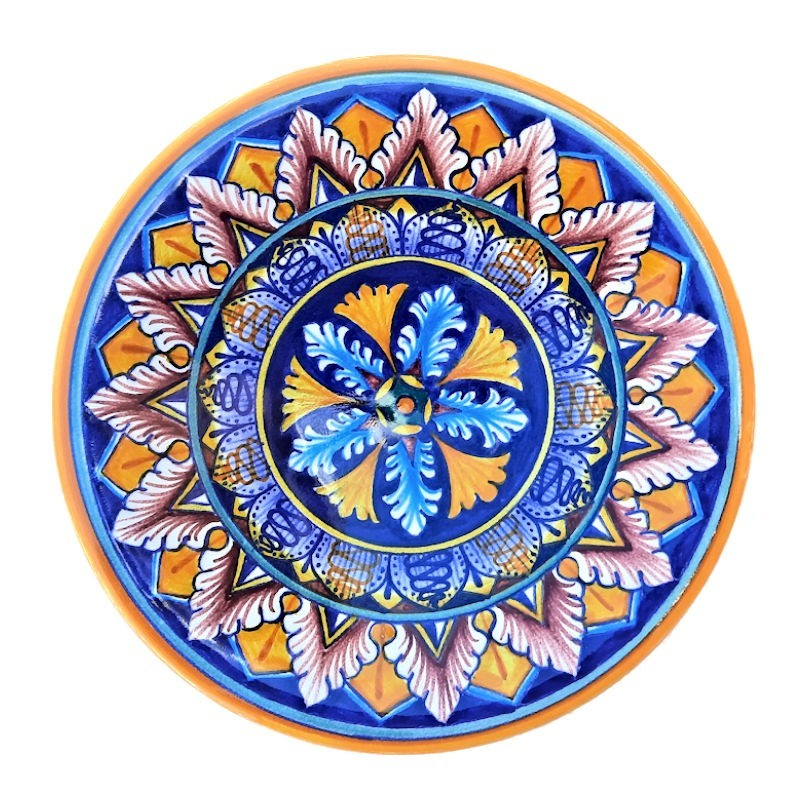 Piatto ceramica maiolica Deruta dipinto a mano da Parete o Centrotavola decoro Vario Todi