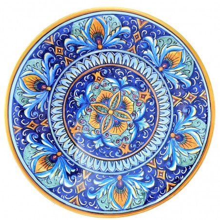 Piatto ceramica Maiolica Deruta dipinto a mano da parete o centrotavola decoro Vario fagiolo