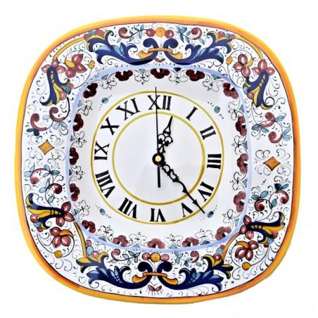 Orologio ceramica maiolica Deruta da parete dipinto a mano decoro Ricco Deruta giallo quadrato