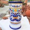 Portaombrelli ceramica maiolica Deruta dipinto a mano decoro Ricco Deruta blu cilindrico