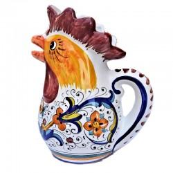 Brocca Gallo ceramica maiolica Deruta dipinto a mano decoro Ricco Deruta Blu
