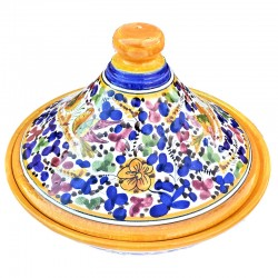 Tajine ceramica maiolica Deruta dipinto a mano decoro Arabesco colorato