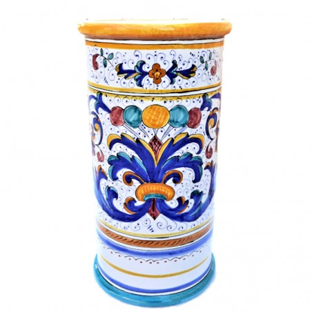 Portaombrelli ceramica maiolica Deruta dipinto a mano decoro Ricco Deruta Giallo cilindrico
