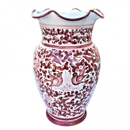 Portaombrelli ceramica maiolica Deruta dipinto a mano decoro Arabesco rosso ondulato