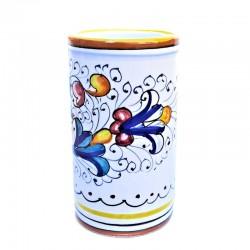 Portapenne ceramica maiolica Deruta dipinto a mano decoro Ricco Deruta Giallo