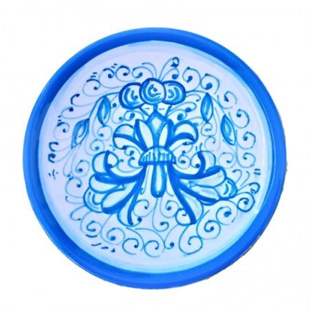 Piattino ceramica maiolica Deruta dipinto a mano decoro Ricco Deruta Turchese Cm. 12