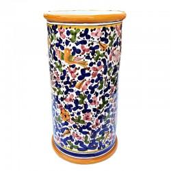 Portaombrelli ceramica maiolica Deruta dipinto a mano decoro Arabesco colorato cilindrico