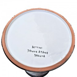 Portaombrelli ceramica maiolica Deruta dipinto a mano decoro Ricco Deruta turchese cilindrico