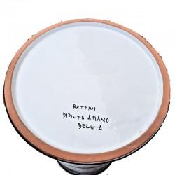 Portaombrelli ceramica maiolica Deruta dipinto a mano decoro Arabesco rosso cilindrico