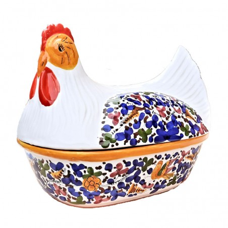Pirofila cuocipollo ceramica maiolica Deruta da forno dipinto a mano decoro arabesco colorato