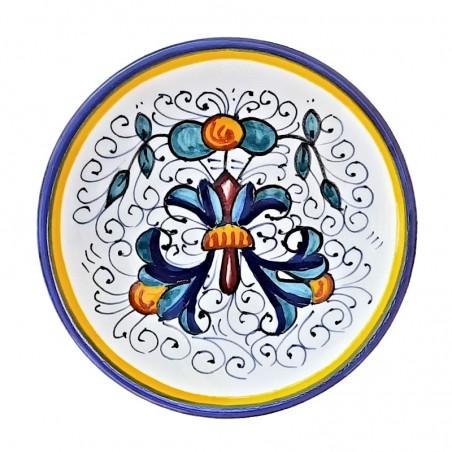 Piattino ceramica maiolica Deruta dipinto a mano decoro Ricco Deruta Blu Cm. 12
