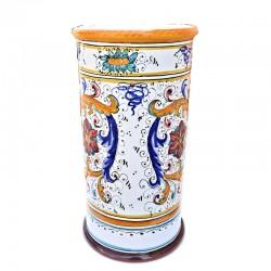 Portaombrelli ceramica maiolica Deruta dipinto a mano decoro Raffaellesco cilindrico