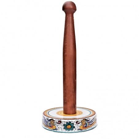 Portarotolo cucina ceramica maiolica Deruta dipinto a mano decoro Raffaellesco