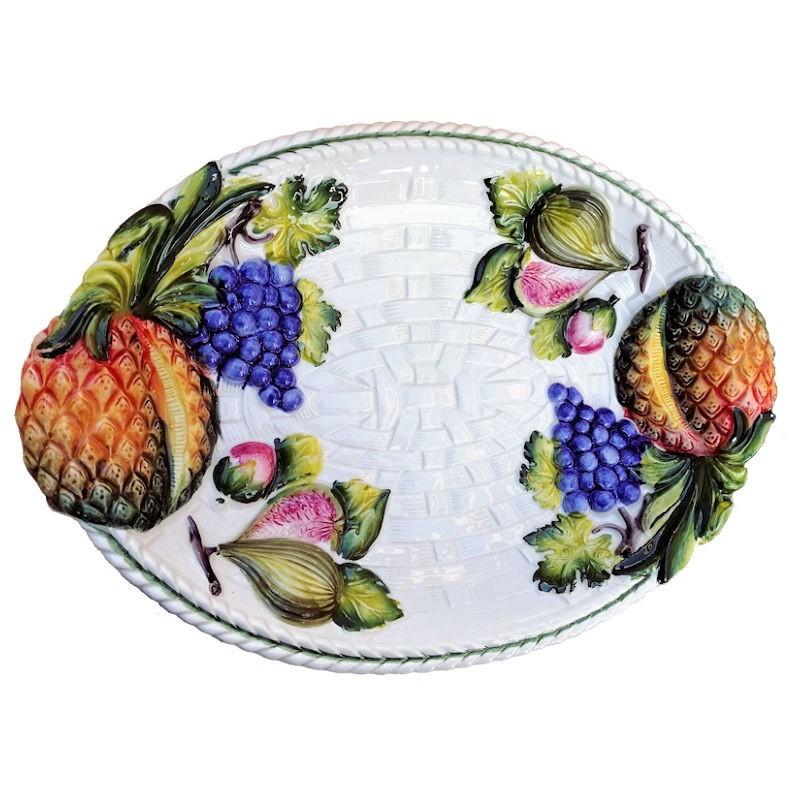 Vassoio ceramica Made in Italy dipinto a mano decoro ananas ovale