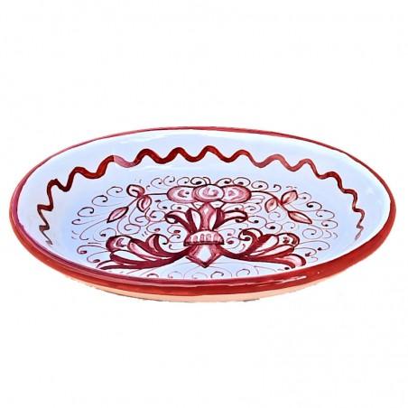 Portasapone ceramica maiolica Deruta dipinto a mano decoro ricco Deruta rosso monocolore ovale