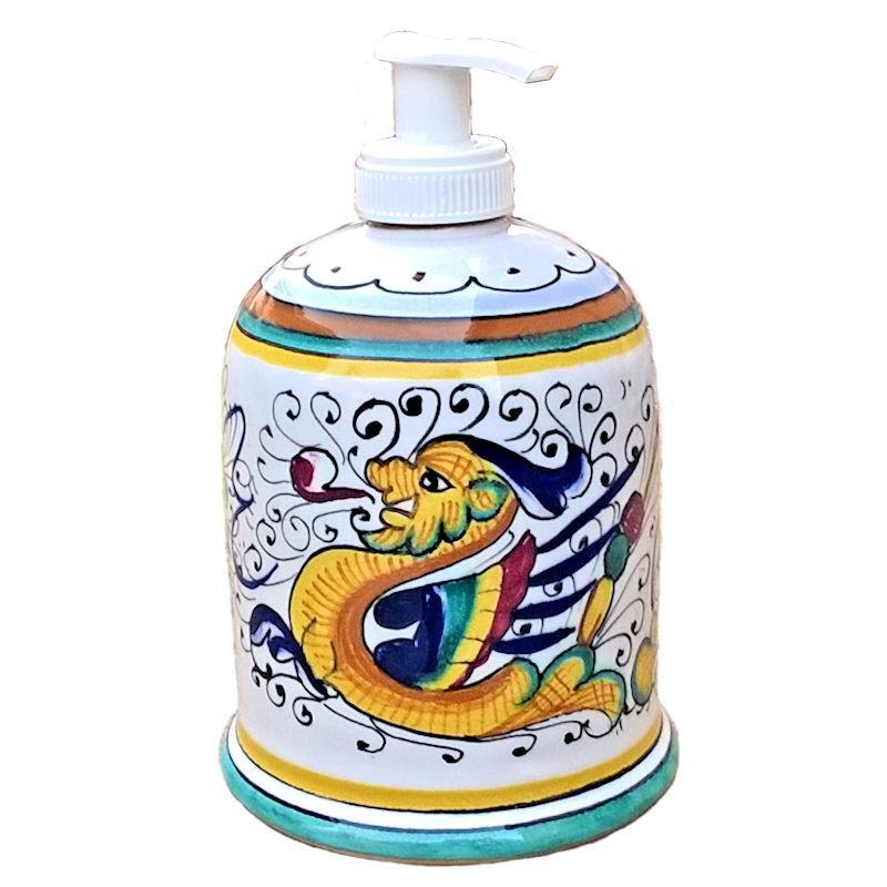 Portasapone Liquido ceramica maiolica Deruta dipinto a mano decoro Raffaellesco