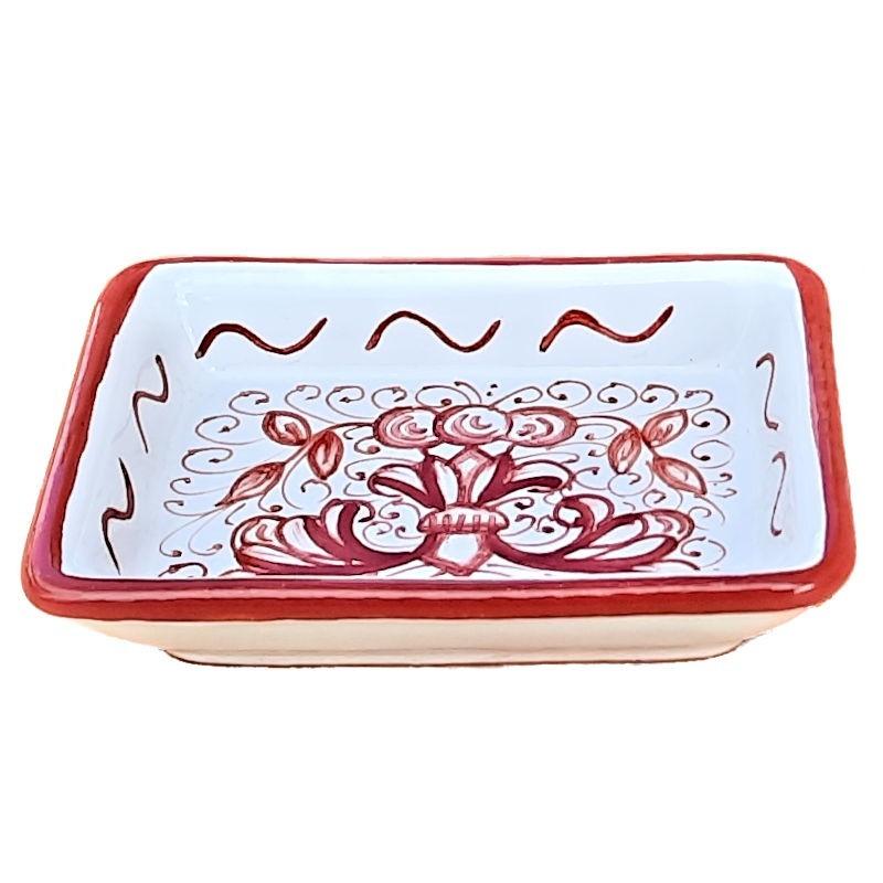 Portasapone ceramica maiolica Deruta dipinto a mano decoro ricco Deruta rosso monocolore rettangolare