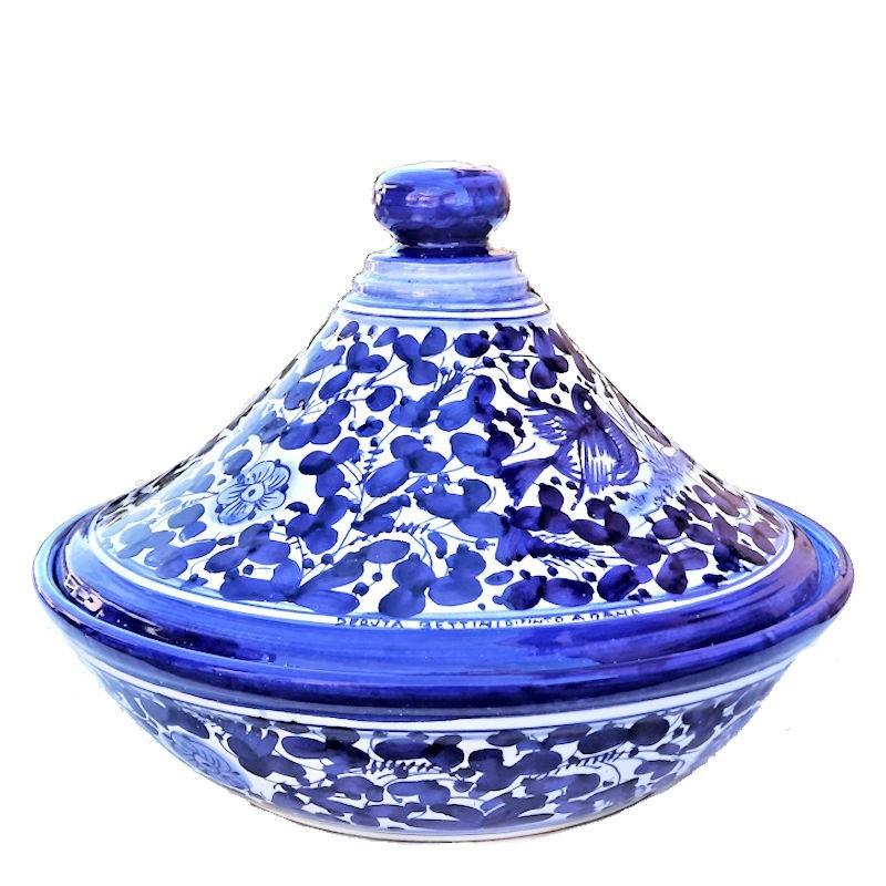 Tajine ceramica maiolica Deruta dipinto a mano decoro Arabesco blu