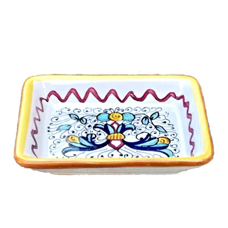 Portasapone ceramica maiolica Deruta dipinto a mano decoro ricco Deruta giallo rettangolare