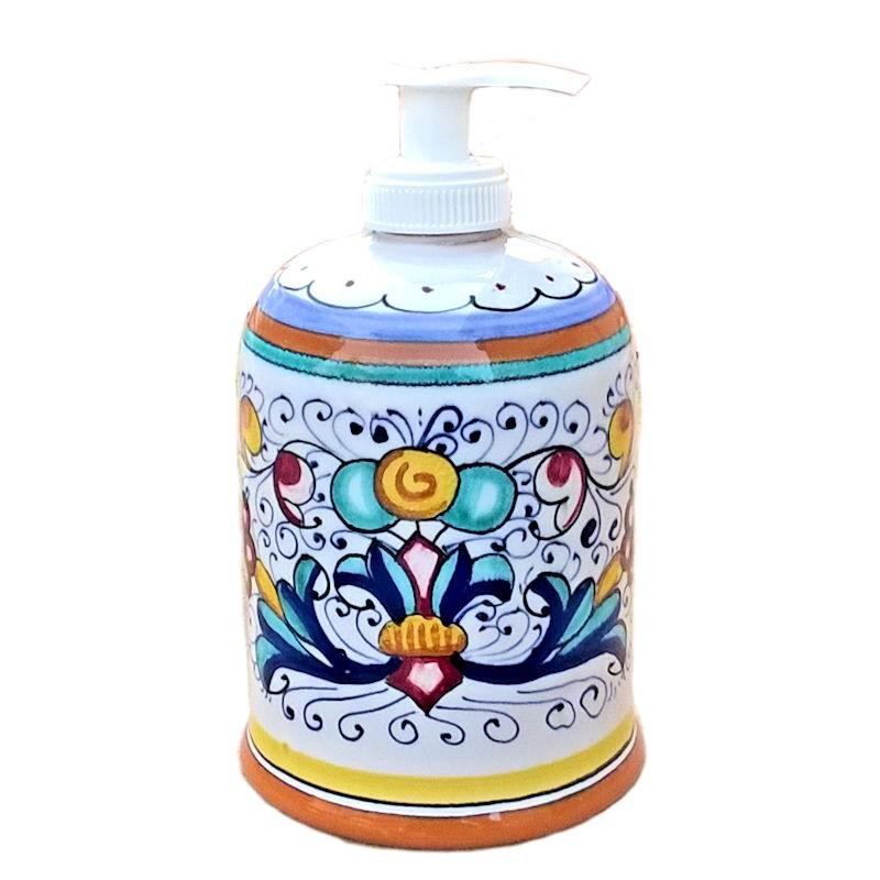 Portasapone Liquido ceramica maiolica Deruta dipinto a mano decoro ricco Deruta giallo