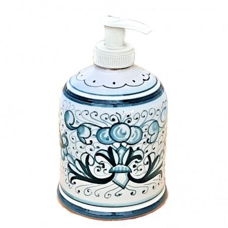 Portasapone Liquido ceramica maiolica Deruta dipinto a mano decoro ricco Deruta verde monocolore