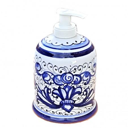 Portasapone Liquido ceramica maiolica Deruta dipinto a mano decoro ricco Deruta blu monocolore