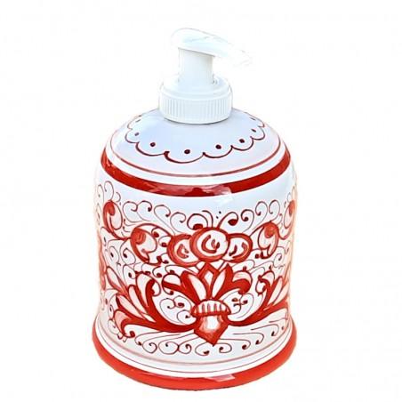 Portasapone Liquido ceramica maiolica Deruta dipinto a mano decoro ricco Deruta rosso monocolore
