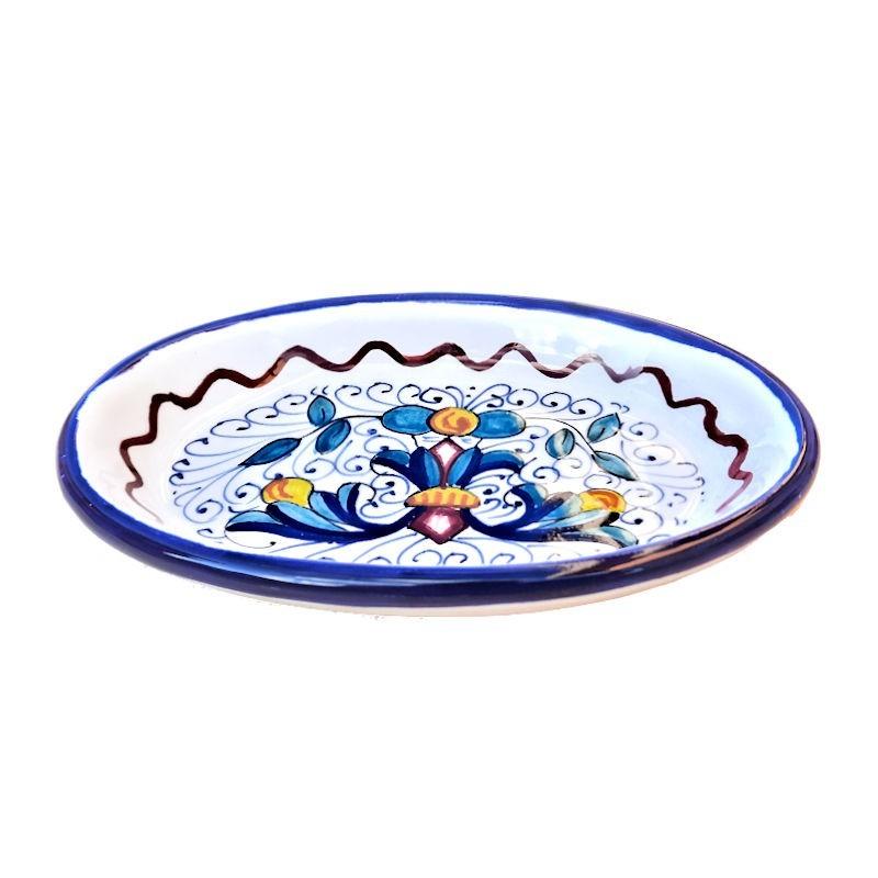 Portasapone ceramica maiolica Deruta dipinto a mano decoro ricco Deruta blu ovale
