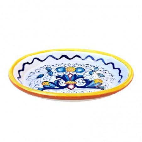 Portasapone ceramica maiolica Deruta dipinto a mano decoro ricco Deruta giallo ovale