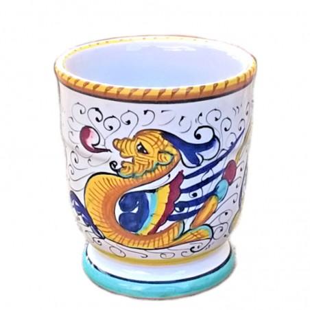 Portaspazzolini bicchiere ceramica maiolica Deruta dipinto a mano decoro Raffaellesco