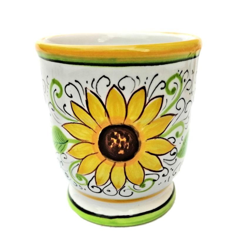 Portaspazzolini bicchiere ceramica maiolica Deruta dipinto a mano decoro Girasole