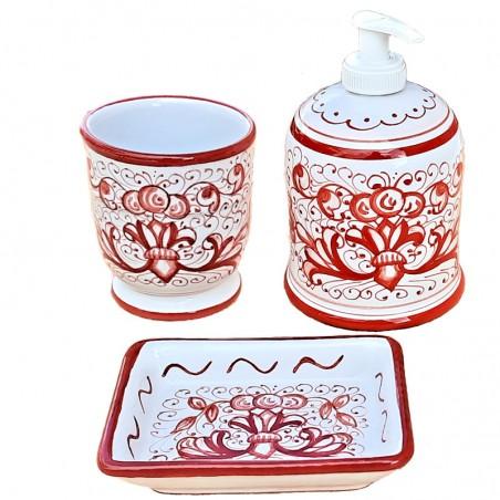 Set da Bagno Ricco Deruta Rosso Monocolore