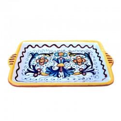 Vassoio ceramica maiolica Deruta dipinto a mano rettangolare decoro ricco Deruta giallo Cm. 18