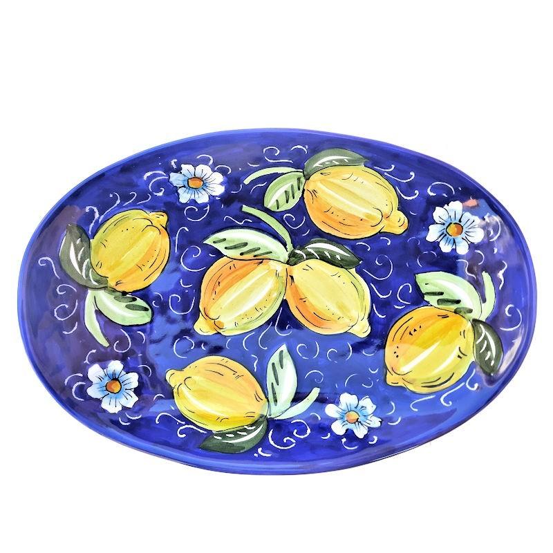 Vassoio portapane ceramica maiolica Deruta dipinto a mano decoro Positano blu