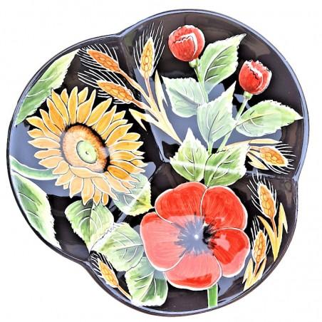 Centrotavola fruttiera ceramica maiolica Deruta dipinto a mano decoro girasole fondo nero cm 27
