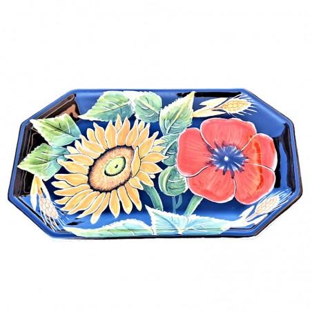 Vassoio ceramica maiolica Deruta dipinto a mano ottagonale decoro Girasole Fondo Nero