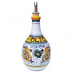 Deruta majolica cruet with handle hand painted with Raphaelesque decoration