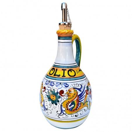 Oliera ceramica maiolica Deruta con manico dipinta a mano decoro Raffaellesco