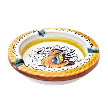 Posacenere ceramica maiolica Deruta dipinto a mano decoro Raffaellesco rotondo