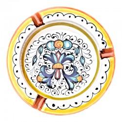 Posacenere ceramica maiolica Deruta dipinto a mano decoro Ricco Deruta giallo rotondo
