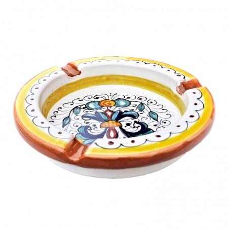 Ashtray Deruta majolica ceramic hand painted Rich Deruta Yellow decoration round