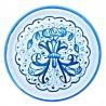 Sottobicchiere sottobottiglia ceramica maiolica Deruta dipinto a mano decoro Turchese